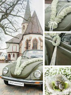 Bridal Car, Wedding Car, Gold Wedding, Wedding White, Gypsophila, Balloons, Retro, Stylish, Floral