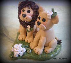 Polymer Clay Lion Wedding Cake Topper by trinasclaycreations, $79.00