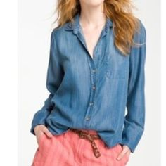 Cloth & Stone Chambray Top Long sleeve V Neck button down top with slight distressed accents. Anthropologie Tops
