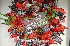 Christmas Deco Mesh Wreath, Christmas Wreath, Christmas Dog Wreath, Christmas Pet Wreath, Holiday Wreath, Door Wreath, Santa Wreath by BlossomShopWreaths on Etsy