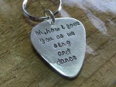 Love You as We Sing & Dance Personalized Solid Sterling Silver Guitar Pick Keychain Handcrafted by tsojewelry, $47.00
