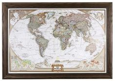 Colorful National Geographic Antique World Map