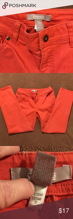 """Size 00 CHICO's Orange Skinny Jeans Size 00 CHICOs Orange Skinny Jeans  Used but in GREAT condition!  Orange colored - almost tangerine - CHICO's Size 00 skinny ankle pants  Waist measured flat side to side = 14"""" Inseam from Crotch = 27""""  Pictures are part of description! Chico's Jeans Skinny"""