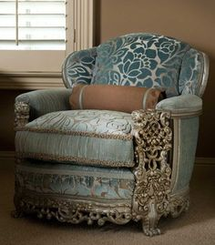 Taupe and Blue Cut Velvet are perfect Mate for the Styling of This Chair.