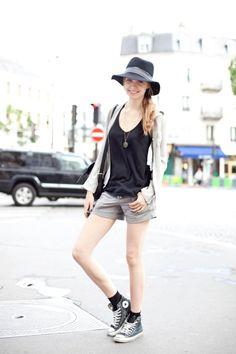 sneakers, hat, black