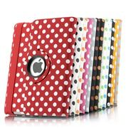 iPad 2 360 Rotating Polka Dots Pattern Leather Case Smart Cover Stand