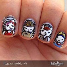 Hello Kitty 'The Walking Dead' Nails