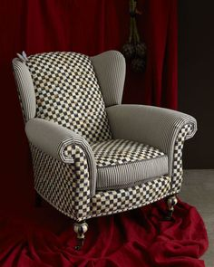 """Underpinnings"" Classic Wing Chair by MacKenzie-Childs at Horchow."