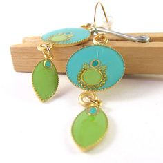 Gold Long Dangle Earrings Turquoise and pastel by @SigalitAlcalai, $50.00