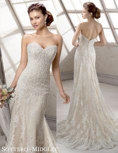 Viera, a stunning gold lace wedding dress by Sottero and Midgley.