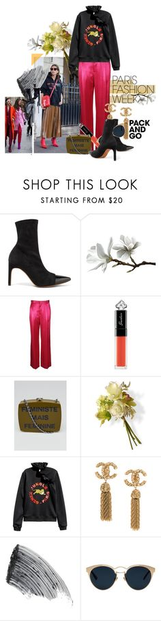 """""""'Pack and Go: (Eccenctric) Paris Fashion Week' #10"""" by hexy ❤ liked on Polyvore featuring Givenchy, Guerlain, Chanel, National Tree Company, Sisley, Christian Dior, parisfashionweek and Packandgo"""