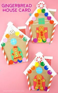 Cute and Easy Gingerbread House Card for Kids This colorful gingerbread house card is a simple and easy homemade Christmas card for kids to make. Grab our free template to make this cute Christmas craft today. Christmas Arts And Crafts, 3d Christmas, Homemade Christmas Cards, Winter Crafts For Kids, Christmas Cards To Make, Handmade Christmas, Holiday Crafts, Christmas Projects, Homemade Cards