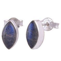 Marquise 925 Solid Sterling Silver Labradorite Stud Earrings Gemstone Jewelry…