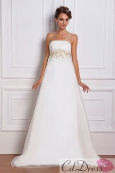 Gorgeous Empire Strapless Satin and Tulle Sweep Train Beach Wedding Dress