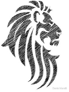 Light Colored Lion Tribal Tattoo Design