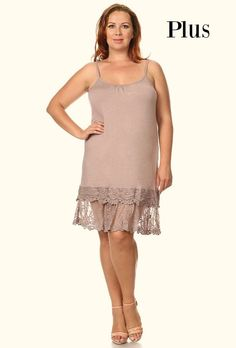 5b3b2ae4d06 Lace Slip extender 4X 3X 2X PLUS SIZE for dress or skirt to make longer  Mocha Lace cami slip Lace Slip Extender