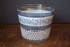 Vintage Jeannette Glass Ice Bucket Patrician Hellenic Greek Design