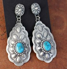 Navajo Native American Sterling Silver Turquoise Earrings