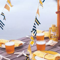 Nautical-Themed Garland Salute guests at your next outdoor party with garlands made from ribbon in nautical-themed stripes and solids. How to Make the Nautical-Themed Garland Nautical Flags, Nautical Party, Nautical Wedding, Nautical Food, Nautical Engagement, Nautical Colors, Nautical Nursery, Flag Colors, Colours