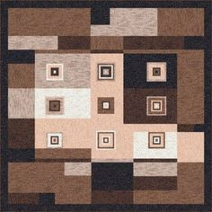"""Milliken Pastiche Bloques Brown Leather Rug Rug Size: Oval 7'8"""" x 10'9"""""""