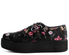 Buy the vegan friendly black crushed velvet & flower embroidered platform creepers Style #V9450 from the official T.U.K. Shoe store. Get fast shipping and the best selection!