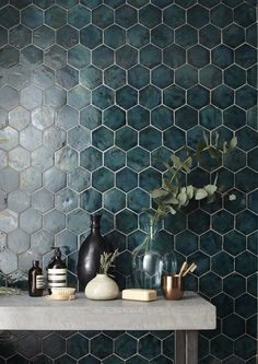 Geometric teal tile
