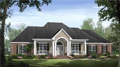 This traditional country ranch house plan includes an open floor plan with 4 spacious bedrooms, 3 1/2 baths, a split-bedroom layout, and other unique features.  The master suite includes a raised ceiling in the master bedroom, 2 large his and her walk-in closets, a jet tub, and an over-sized shower. The kitchen is fully-equipped with a wraparound raised bar, pantry, and a large adjoining breakfast area.  Just off of the kitchen is a beautiful for…