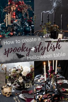 elegant halloween decor Five-step guide to creating a spooky and stylish Halloween table and hosting a sophisticated Halloween dinner party from When It Alteration Finds. Halloween Tisch, Table Halloween, Halloween Village Display, Fete Halloween, Halloween 2020, Holidays Halloween, Halloween Crafts, Halloween Table Settings, Halloween Table Decorations