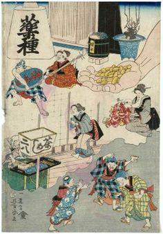 Types of Medicine (Yaku shu)  Japanese, Edo period, 1860 (Ansei 7/Man'en 1), 6th month  Artist Utagawa Yoshiharu, Japanese, 1828–1888, Woodblock print (nishiki-e); ink and color on paper, MFA.