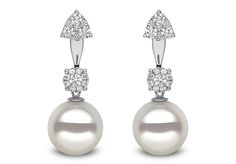 Yoko London Novus Collection 18kt white gold ear jackets with 12-13mm South Sea pearls and 0.93ct diamonds.