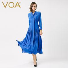 Encontrar Más Vestidos Información acerca de Azul de seda de VOA vestido OL femenina de cintura ancha cinta de seda Vestido Plisado A6611, alta calidad vestidos de mujer, China vestido de seda Proveedores, barato vestido plisado de VOA Flagship Shop en Aliexpress.com