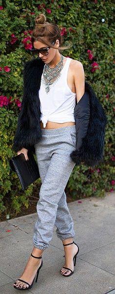 #street #style casual / monochrome + faux fur