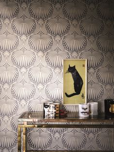 Lotus by Farrow & Ball - Black / Copper - Wallpaper : Wallpaper Direct Lotus Wallpaper, Metallic Wallpaper, Colorful Wallpaper, Accent Wallpaper, Salon Wallpaper, Farrow Ball, Farrow And Ball Paint, Free Wallpaper Samples, Wallpaper Ideas