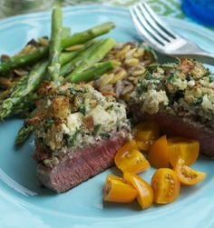 more than burnt toast: Blue Cheese Crusted Filet of Beef with Mushroom Orzo Risotto