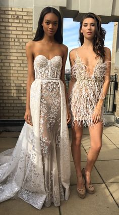 This long @bertabridal gown is so opulent - and that short dress is pretty perfect for dancing!