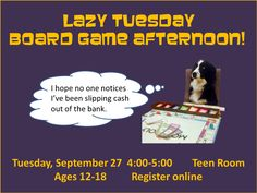 Join us after school for a fun afternoon of board games including RISK, UNO, SCRABBLE, and more!