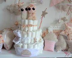 Gâteau de couches fait par Julie, des Petites Perles de Julie pour l'arrivée de Jumelles!