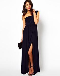 Wish this came in a dif color :( ASOS+One+Shoulder+Maxi+Dress+With+Split