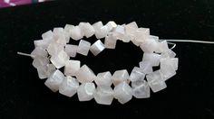 8mm Rose Quartz Gemstone Beads, Cube, Diagonally - FULL STRAND by JuliesEarrings on Etsy