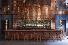 Bamboo Ceiling, Timber Ceiling, Carnicerias Ideas, Penny Tile Floors, Precast Concrete Panels, Lantern Craft, Copper Lantern, Japanese Kitchen, Kengo Kuma