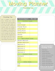 Moving Planner | several moving forms - free printable