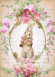 Happy Easter! Vintage Bunny & Roses