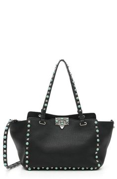 VALENTINO 'Small Rockstud - Alce' Leather Tote. #valentino #bags #shoulder bags #hand bags #stone #leather #tote
