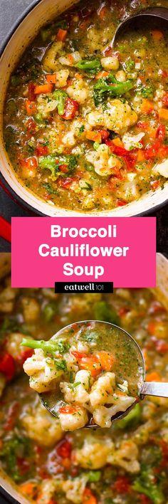 Broccoli Cauliflower Soup — A super nutritious soup ready in 15 minutes. Paleo… Broccoli Cauliflower Soup — A super nutritious soup ready in 15 minutes. Low Carb Recipes, Vegetarian Recipes, Cooking Recipes, Healthy Recipes, Salad Recipes, Orzo Recipes, Healthy Soups, Vegan Soups, Recipes Dinner