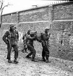 Edmonton Regiment soldiers use walkie-talkie during advance in Ortona, Italy, 21 December Carrying it is Lance Corporal W. Talking into it is Private W. Photo by Terry F. Canadian Soldiers, Canadian Army, Canadian History, British Soldier, British Army, European History, Italian Campaign, Royal Canadian Navy, Lance Corporal