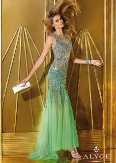 Alyce Prom 6192 - Absinthe Sheer Beaded Mermaid Prom Dresses Online