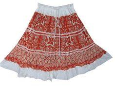 "Womens Bohemian Skirt Peasant Skirts Orange Floral Printed Cotton Skirt 22"" Mogul Interior,http://www.amazon.com/dp/B00BJGJMPI/ref=cm_sw_r_pi_dp_XT9jrb094MYGVXWD"
