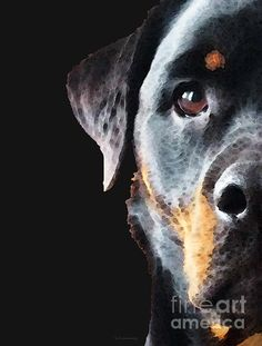 Rottie Love - Rottweiler Art by Sharon Cummings. Fine art prints and posters for sale. #sharoncummings #arts #rottweiler