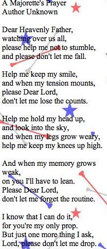 A baton Twirler's prayer  LOVE THIS!!