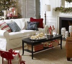 Christmas decor - bold black & red pillows on a white PB Basic Slipcovered Sofa.